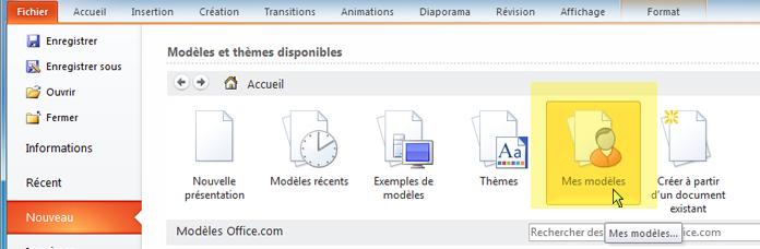 Sous l'onglet fichiers du ruban, sélectionnez Nouveau, puis cliquez sur le bouton Mes modèles.