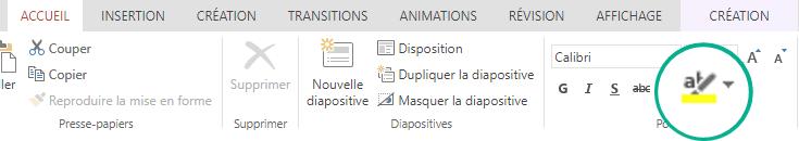 Le bouton du surligneur de texte se trouve dans l'onglet Accueil du ruban dans PowerPoint Online