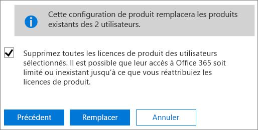 Cochez la case pour retirer toutes les licences utilisateur des comptes d'utilisateur sélectionnés.