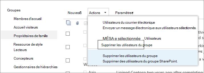 Vue de la barre de lancement rapide avec les groupes, et menu Actions ouvert avec l'option Supprimer les utilisateurs du groupe sélectionnée