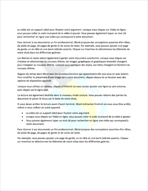 Exemple de document avec une image en filigrane