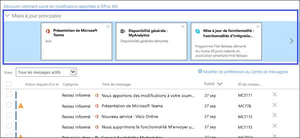 Capture d'écran: affichant les principales mises à jour section du centre d'électronique.