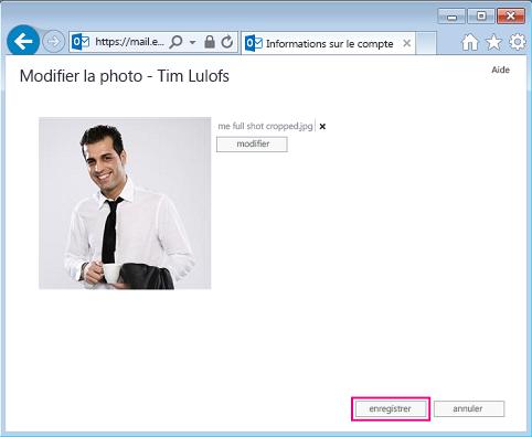 Capture d'écran de la boîte de dialogue Modifier l'image avec Enregistrer mis en surbrillance