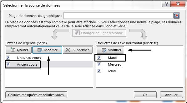 Vous pouvez modifier le nom de la légende dans la boîte de dialogue Sélectionner la source de données.