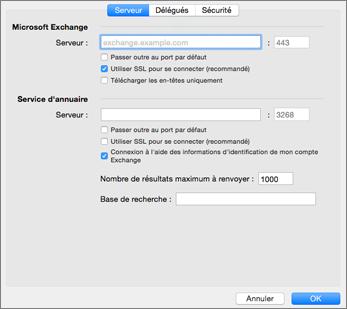 Paramètres de serveur d'un compte Exchange
