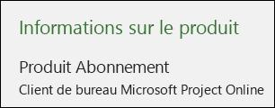 Informations sur le projet pour Project Online Desktop Client