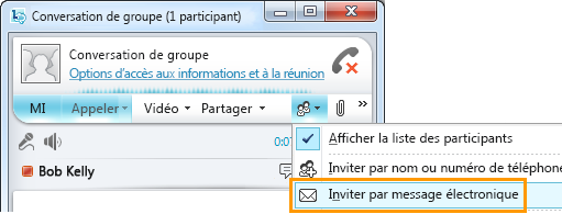 Inviter par courrier électronique