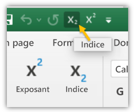 Capture d'écran illustrant les boutons Indice et Exposant de la barre d'outils Accès rapide et du ruban.