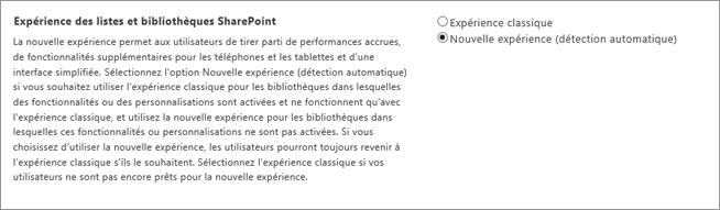 Configuration pour l'expérience de liste et de bibliothèque par défaut