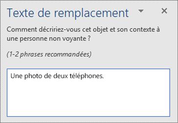 Exemple d'un texte de alt médiocre dans Word pour Windows.