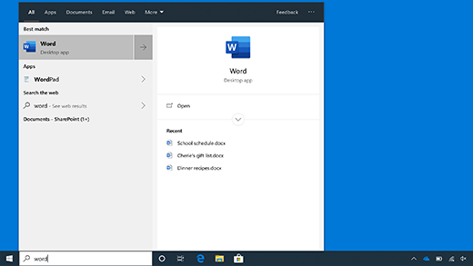 Recherche à partir de la barre des tâches dans Windows10