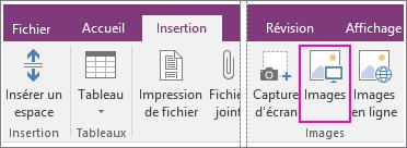 Capture d'écran du bouton Insérer des images dans OneNote2016.
