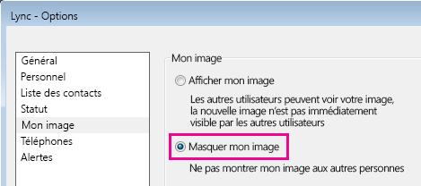 Capture d'écran de la section de la boîte de dialogue des options Mon image avec Masquer mon image sélectionné