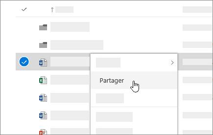 Capture d'écran du menu contextuel dans OneDrive Entreprise Online