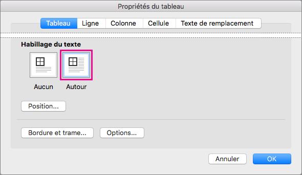 Cliquez sur Autour pour que le texte entoure le tableau sélectionné.