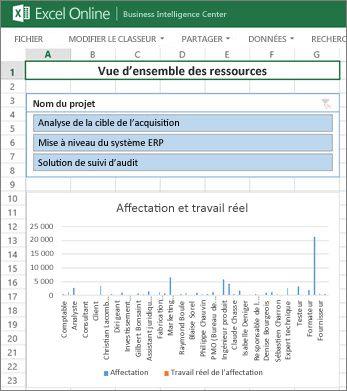 Le classeur Vue d'ensemble des ressources donne des informations complètes sur les ressources de vos projets