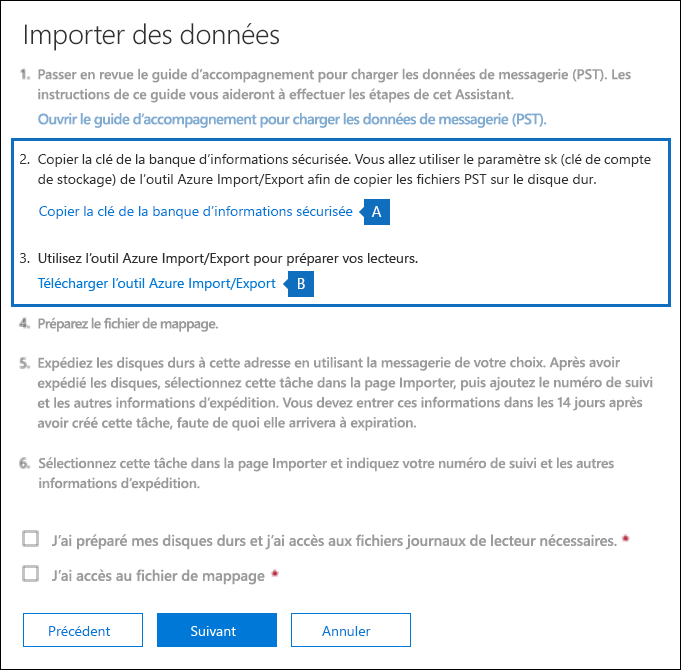 Copiez la clé de stockage sécurisé et téléchargez l'outil Azure importer exporter sur la page Importer des données