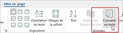 L'option Convertir en texte est en surbrillance sous l'onglet Outils de tableau - Disposition.