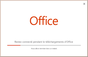 Progression de l'installation d'une application Office