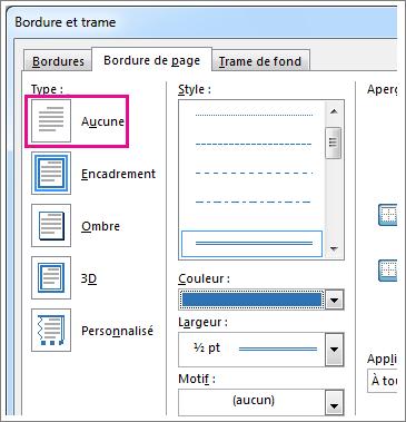 Boîte de dialogue de paramètres Bordure de page