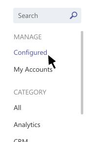 Cette capture d'écran illustre l'option Configuré dans le menu Connecteurs.