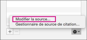 Option Modifier la source mise en évidence dans le volet Citations