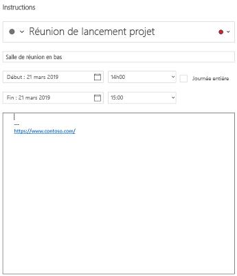 Affichage des détails de l'événement calendrier pour Windows 10