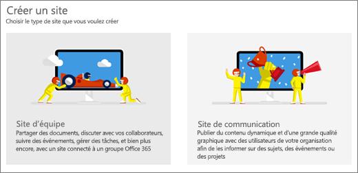 Choix des deux modèles de niveau supérieur, site d'équipe ou de communication.