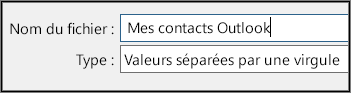 Attribuez un nom à votre fichier de contacts.