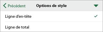 Commande Options de style, avec l'option Ligne d'en-tête sélectionnée