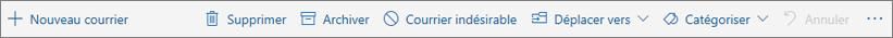 Capture d'écran affichant la barre de commandes qui s'affiche dans le volet de lecture avec les options correspondant aux actions courantes comme Supprimer, Archiver et Déplacer vers.