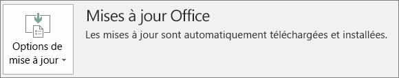 Capture d'écran des mises à jour pour Office dans le compte d'application Office