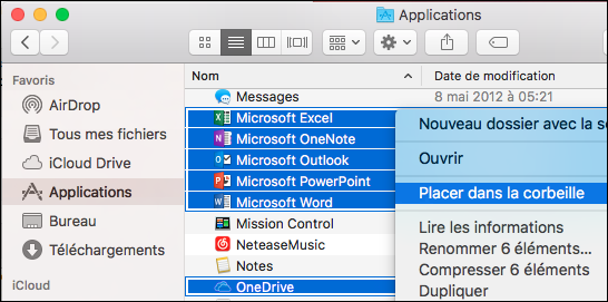 Déplacer les applications Office dans la Corbeille