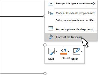 Option de menu Format de la forme sélectionnée