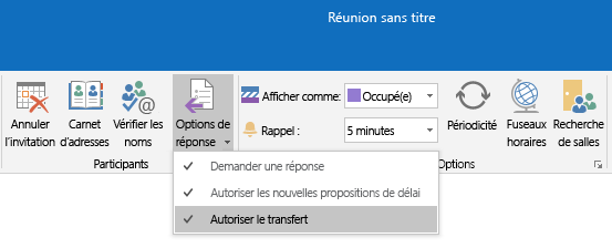 Option Autoriser le transfert dans Outlook