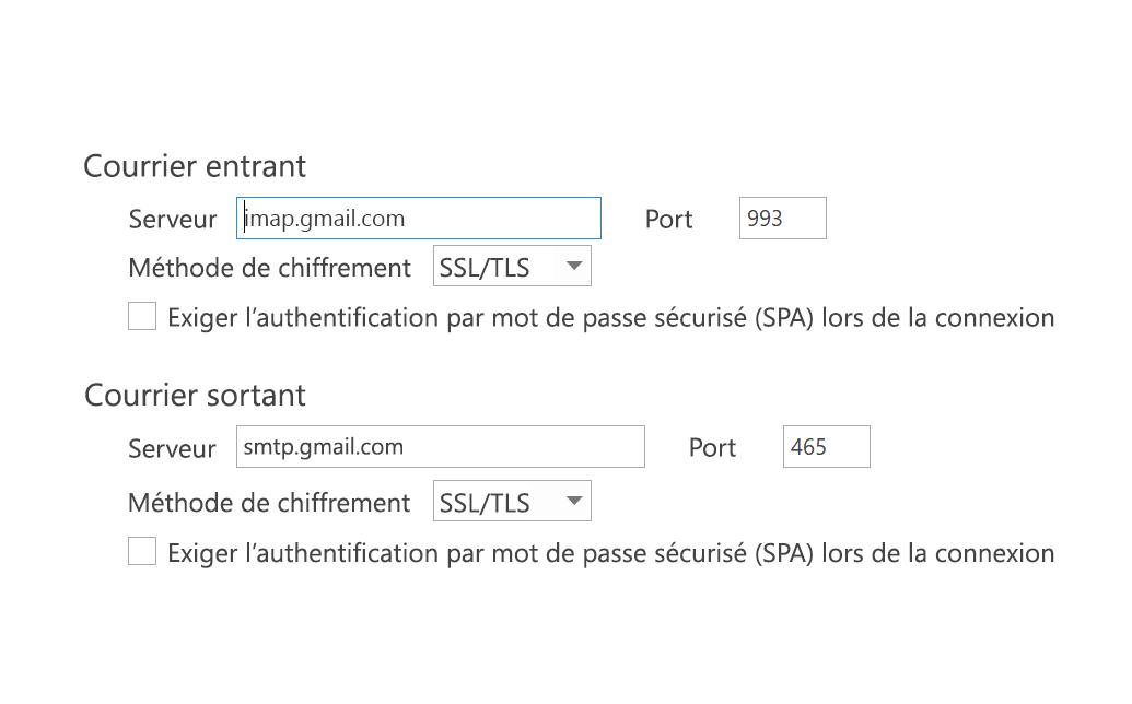 Paramètres IMAP - SPA désactivée