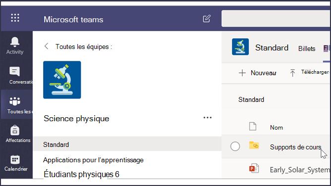 Capture d'écran d'une salle de classe Teams