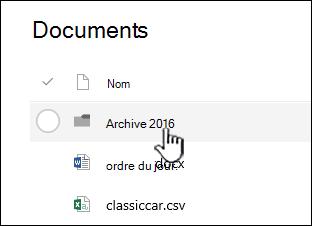 Bibliothèque de documents SharePoint Online avec le dossier mis en surbrillance