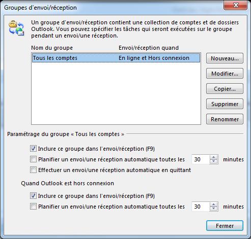 La boîte de dialogue Paramètres d'envoi/réception