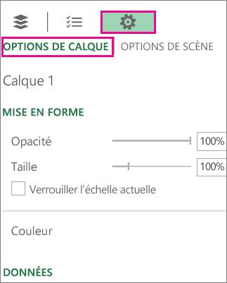 Icône Paramètres sous l'onglet Options de calque