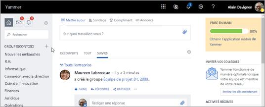 Capture d'écran de la page d'accueil de Yammer.com