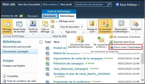 Dossier de documents partagés SharePoint2010, option Ouvrir avec l'Explorateur