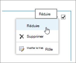 Menu composant WebPart avec réduire mis en surbrillance