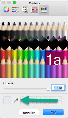 La boîte de dialogue couleurs comporte un outil pipette.