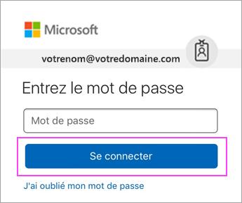 Entrez votre mot de passe Outlook.com