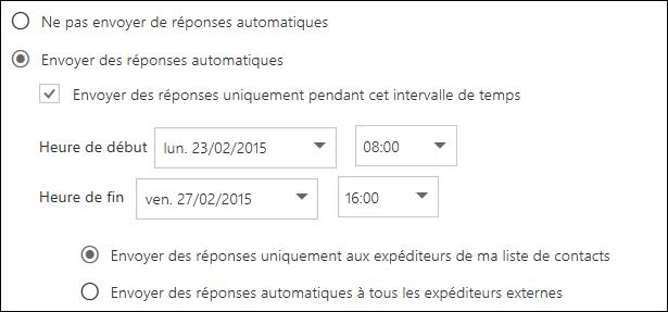 Définir l'heure des réponses automatiques dans Outlook sur le web
