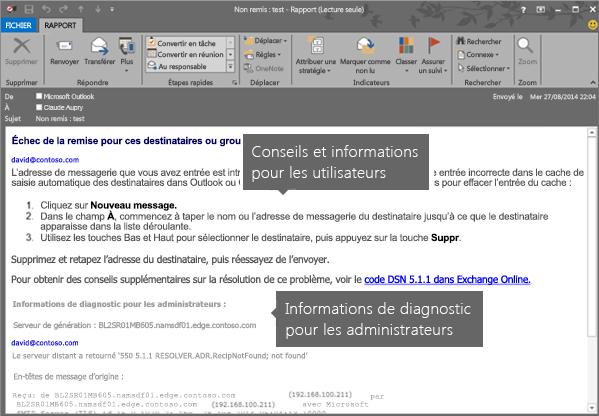 Notification d'échec de remise montrant les informations de diagnostic destinées aux utilisateurs et aux administrateurs