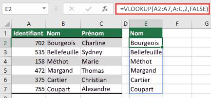 Utilisez = RECHERCHEV (a2: a7; A:C; 2; faux) pour renvoyer un tableau dynamique qui ne produira aucun #SPILL. comme erreur.