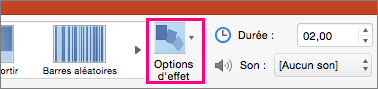 Bouton Options d'effet dans le menu Transitions de PowerPoint 2016 pour Mac