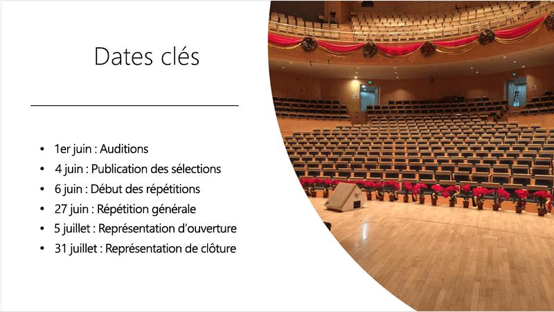 Exemple de diapositive avec une chronologie textuelle et une photo qui concevoir des idées organisées et disposées.